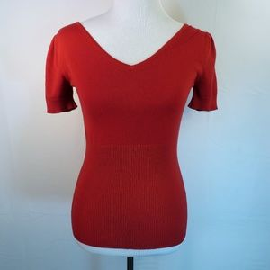 Red Short Sleeved V - Neck Strappy Backed Sweater